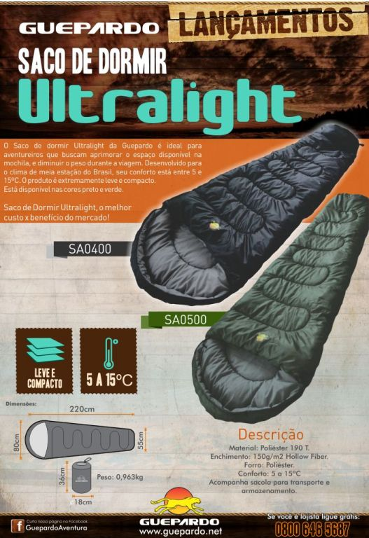 lançamento saco de dormir ultralight guepardo