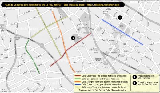 Mapa com as principais ruas de comércio de material de montanha e esportivo de La Paz, Bolívia