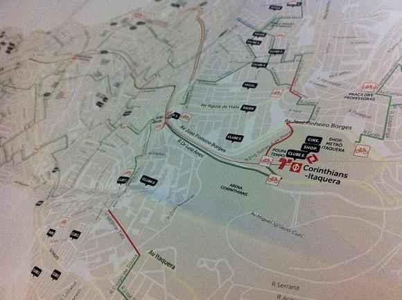 Mapa das ciclovias de SP